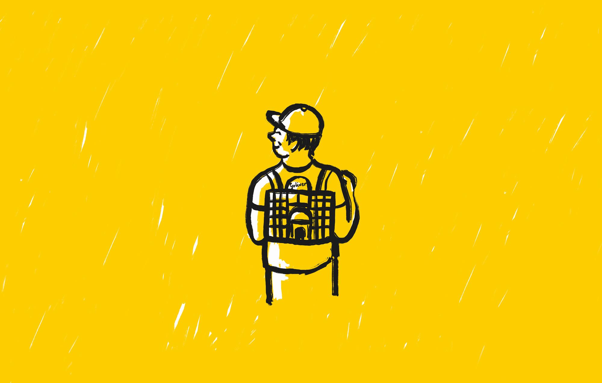 Na grafice widoczny jest chłopiec w czapce, z plecakiem w kształcie budynku Teatru Guliwer.