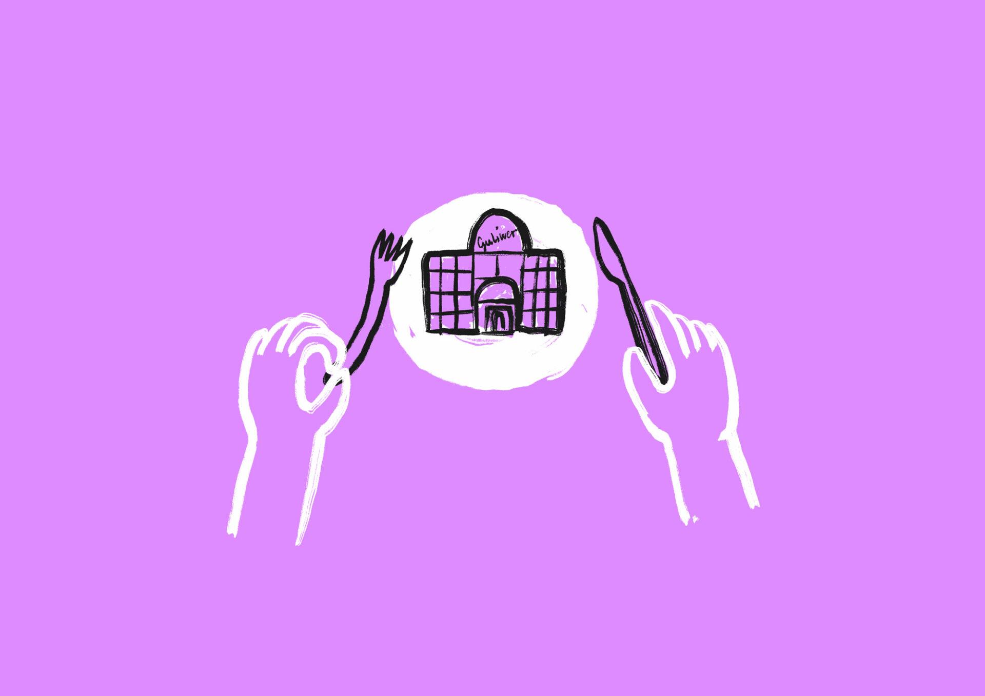 Grafika przedstawia dłonie ze sztućcami oraz talerz, na którym znajduje się budynek Teatru Guliwer.